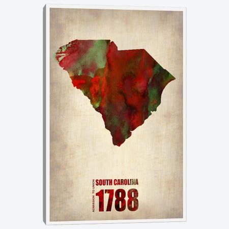 South Carolina Watercolor Map Canvas Print #NAX300} by Naxart Canvas Artwork