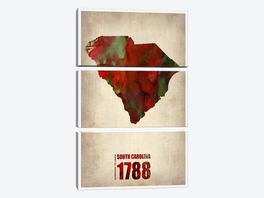 South Carolina Watercolor Map by Naxart 3-piece Canvas Art