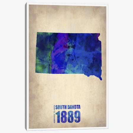 South Dakota Watercolor Map Canvas Print #NAX301} by Naxart Canvas Art