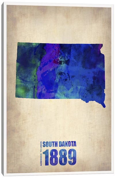South Dakota Watercolor Map Canvas Art Print
