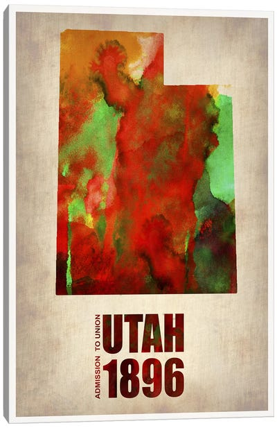 Utah Watercolor Map Canvas Art Print