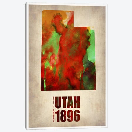 Utah Watercolor Map Canvas Print #NAX302} by Naxart Canvas Artwork