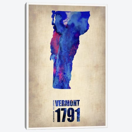 Vermont Watercolor Map Canvas Print #NAX303} by Naxart Canvas Art