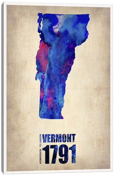 Vermont Watercolor Map Canvas Art Print