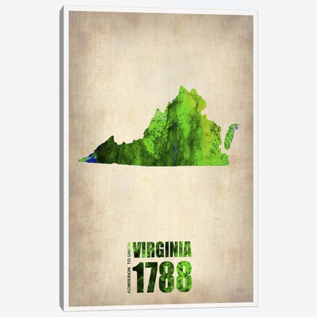 Virginia Watercolor Map Canvas Print #NAX304} by Naxart Canvas Art Print