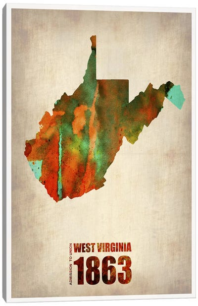 West Virginia Watercolor Map Canvas Art Print