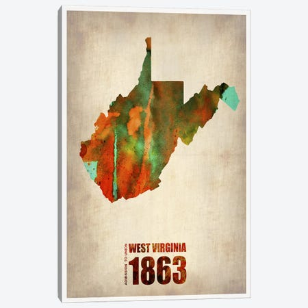 West Virginia Watercolor Map Canvas Print #NAX305} by Naxart Canvas Art Print