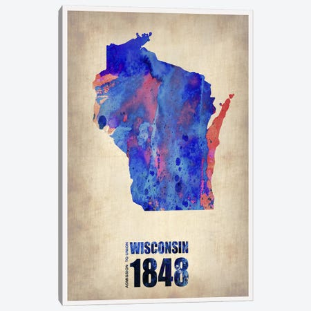 Wisconsin Watercolor Map Canvas Print #NAX306} by Naxart Art Print