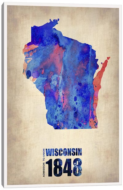 Wisconsin Watercolor Map Canvas Art Print