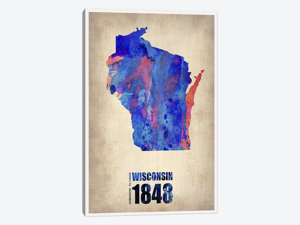 Wisconsin Watercolor Map by Naxart 1-piece Canvas Artwork