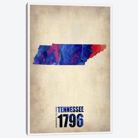 Tennessee Watercolor Map Canvas Print #NAX307} by Naxart Canvas Art Print