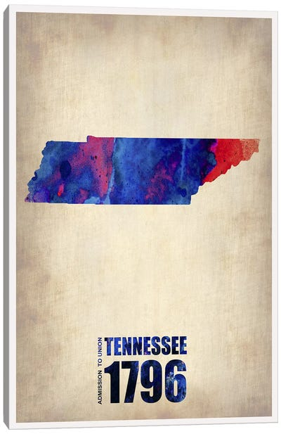 Tennessee Watercolor Map Canvas Art Print