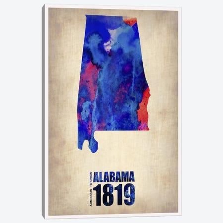 Alabama Watercolor Map Canvas Print #NAX308} by Naxart Canvas Art