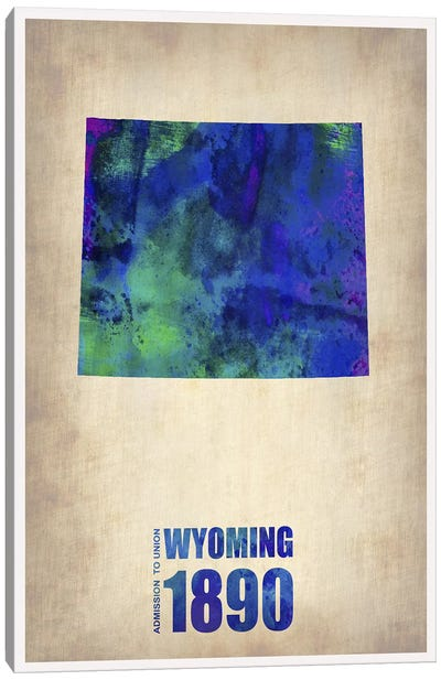 Wyoming Watercolor Map Canvas Art Print