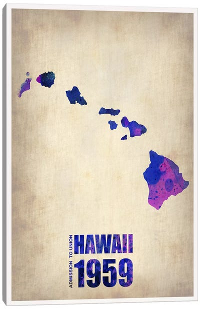Hawaii Watercolor Map Canvas Art Print