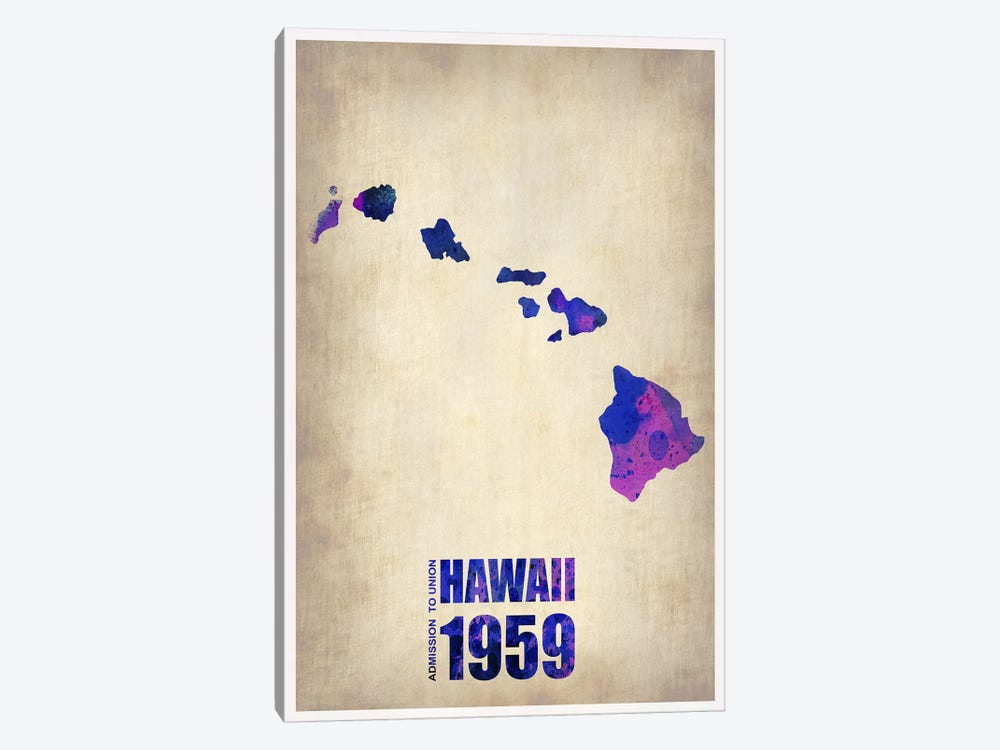 Hawaii Watercolor Map by Naxart 1-piece Canvas Print