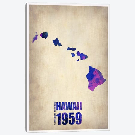Hawaii Watercolor Map Canvas Print #NAX310} by Naxart Art Print