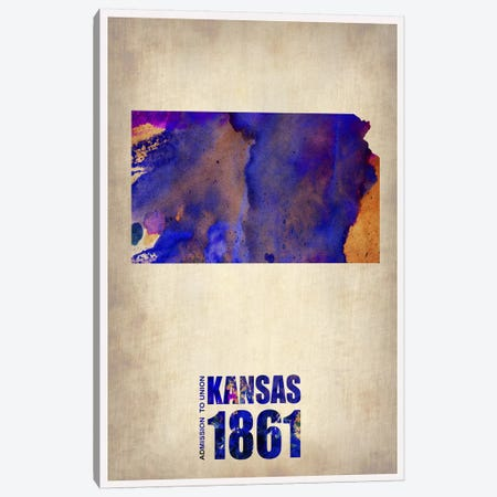 Kansas Watercolor Map Canvas Print #NAX311} by Naxart Canvas Art Print