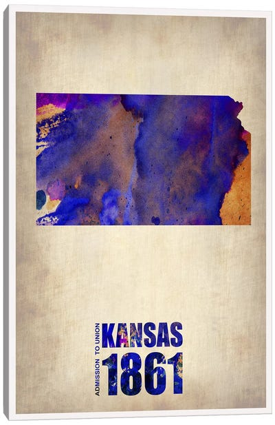 Kansas Watercolor Map Canvas Art Print
