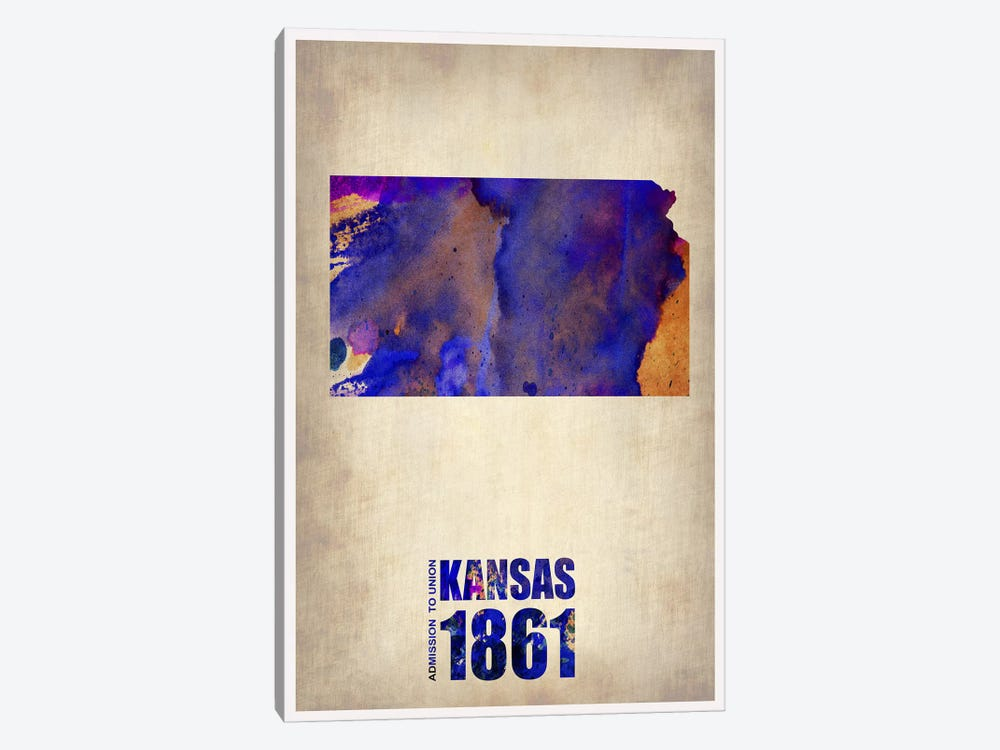 Kansas Watercolor Map by Naxart 1-piece Canvas Wall Art