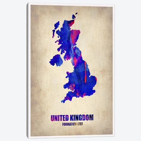 United Kingdom Watercolor Map Canvas Print #NAX312} by Naxart Art Print