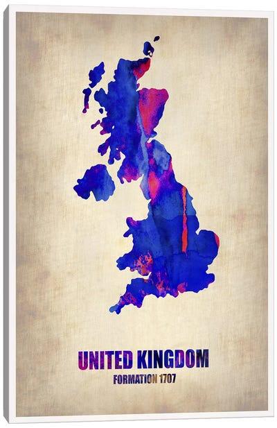 United Kingdom Watercolor Map Canvas Print #NAX312