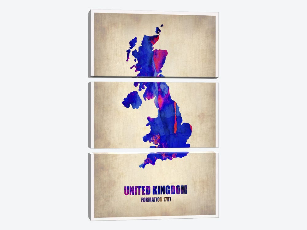 United Kingdom Watercolor Map by Naxart 3-piece Canvas Print