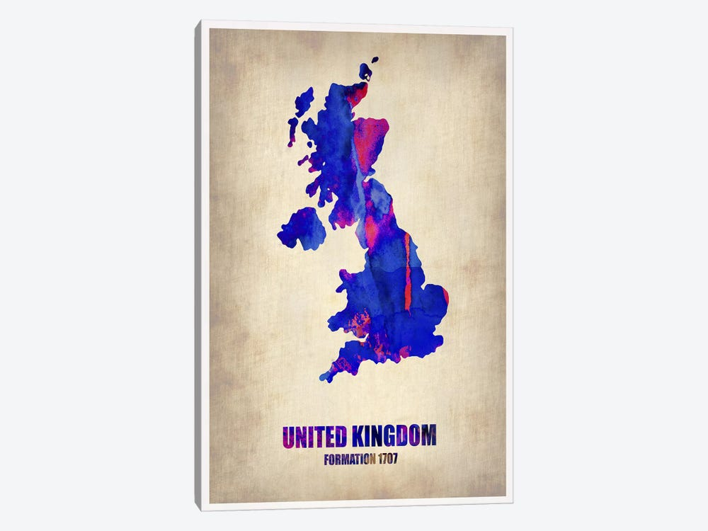 United Kingdom Watercolor Map by Naxart 1-piece Art Print