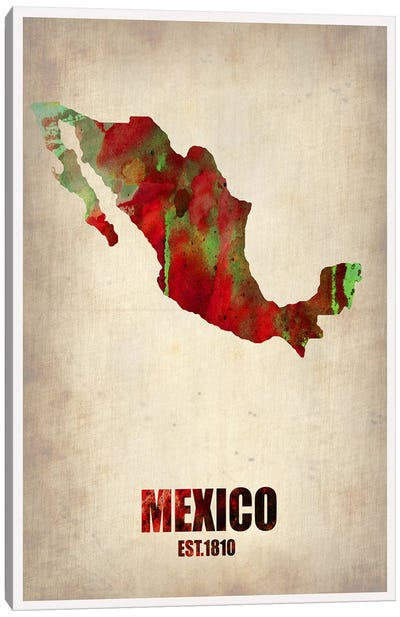 Mexico Watercolor Map Canvas Art Print