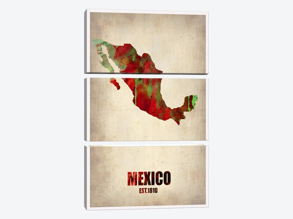 Mexico Watercolor Map by Naxart 3-piece Canvas Artwork