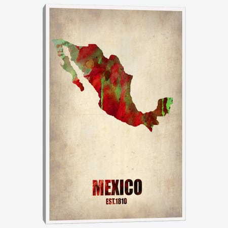 Mexico Watercolor Map Canvas Print #NAX313} by Naxart Canvas Print