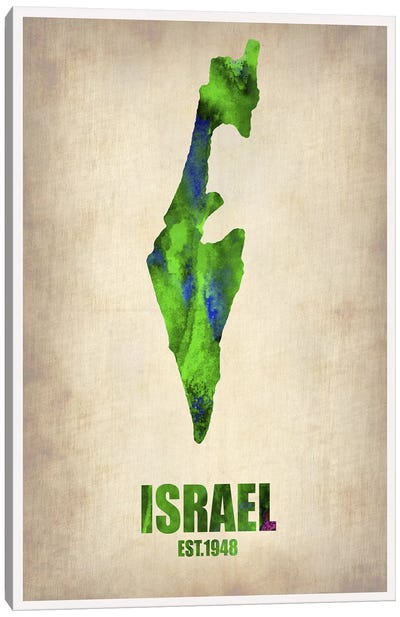 Israel Watercolor Map Canvas Art Print