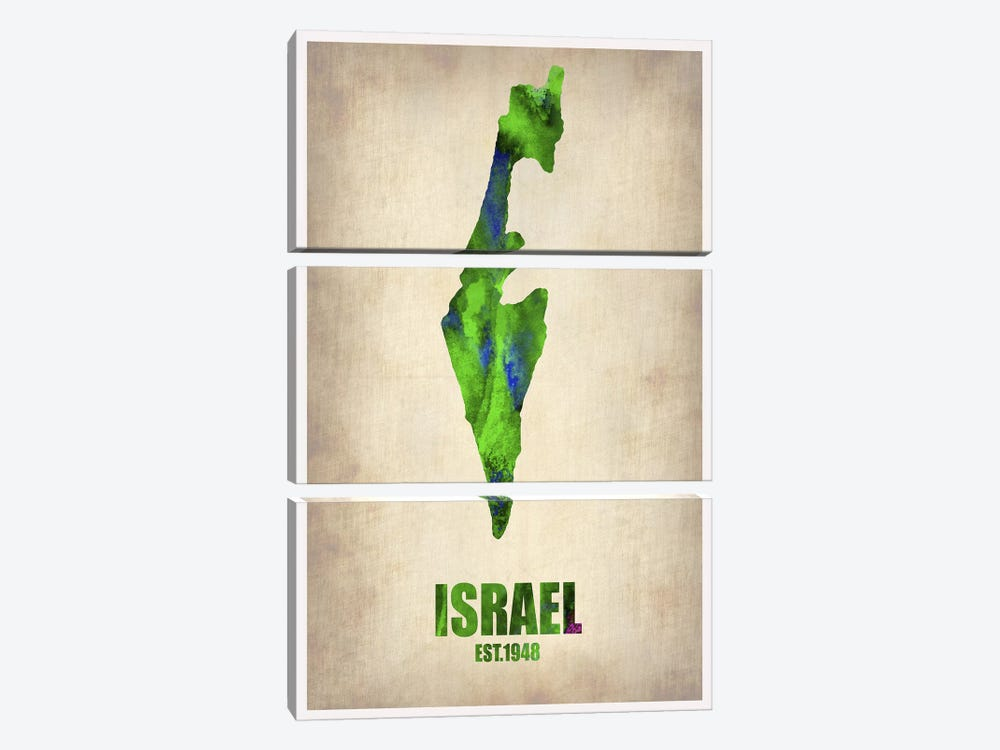 Israel Watercolor Map by Naxart 3-piece Art Print
