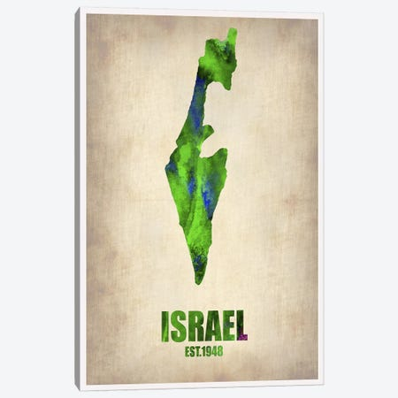 Israel Watercolor Map Canvas Print #NAX314} by Naxart Canvas Artwork