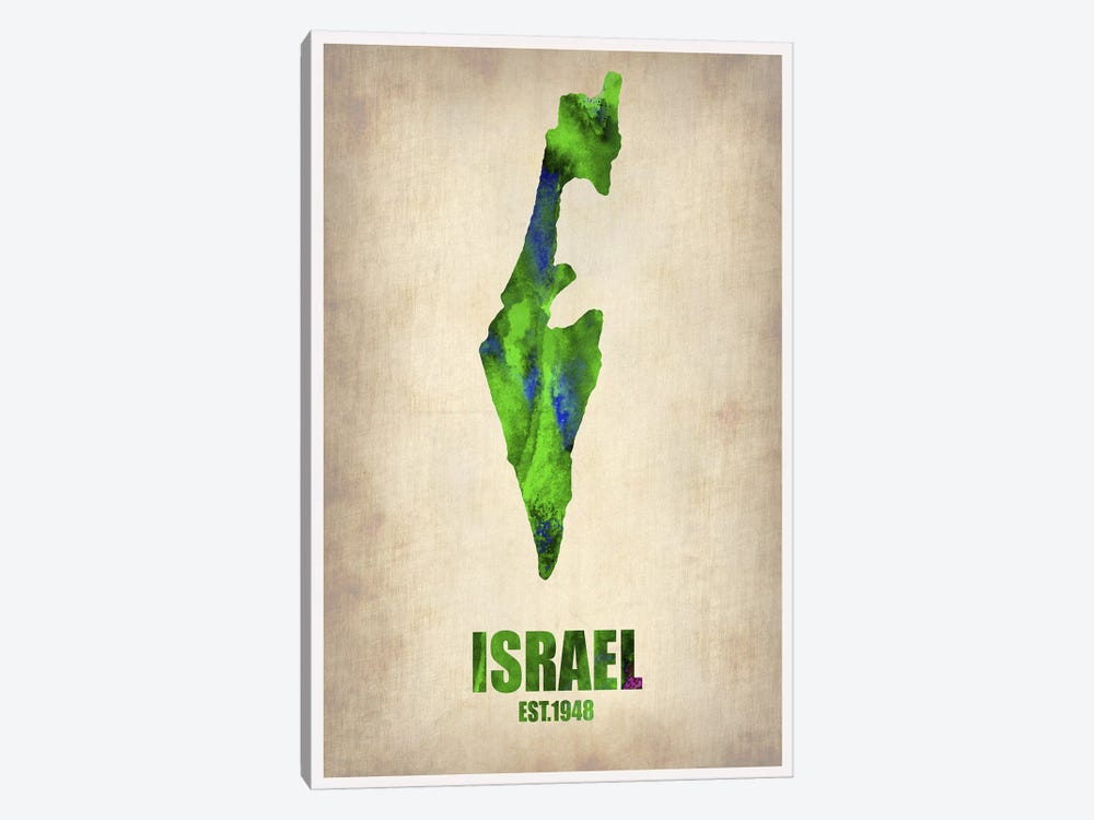 Israel Watercolor Map 1-piece Canvas Print