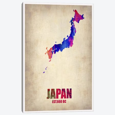 Japan Watercolor Map Canvas Print #NAX315} by Naxart Canvas Wall Art