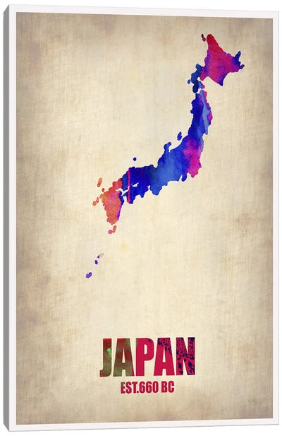Japan Watercolor Map Canvas Art Print