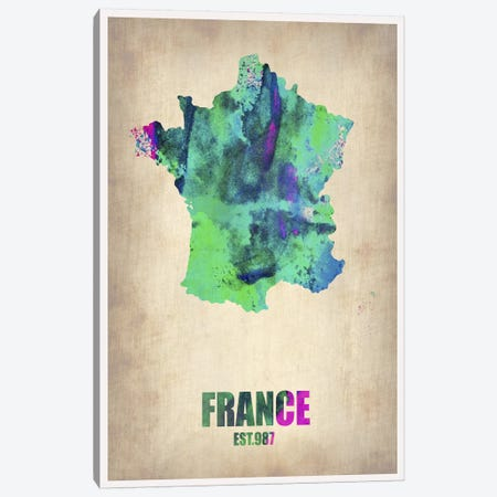 France Watercolor Map Canvas Print #NAX316} by Naxart Canvas Artwork