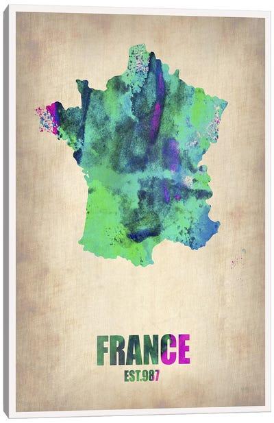 France Watercolor Map Canvas Print #NAX316