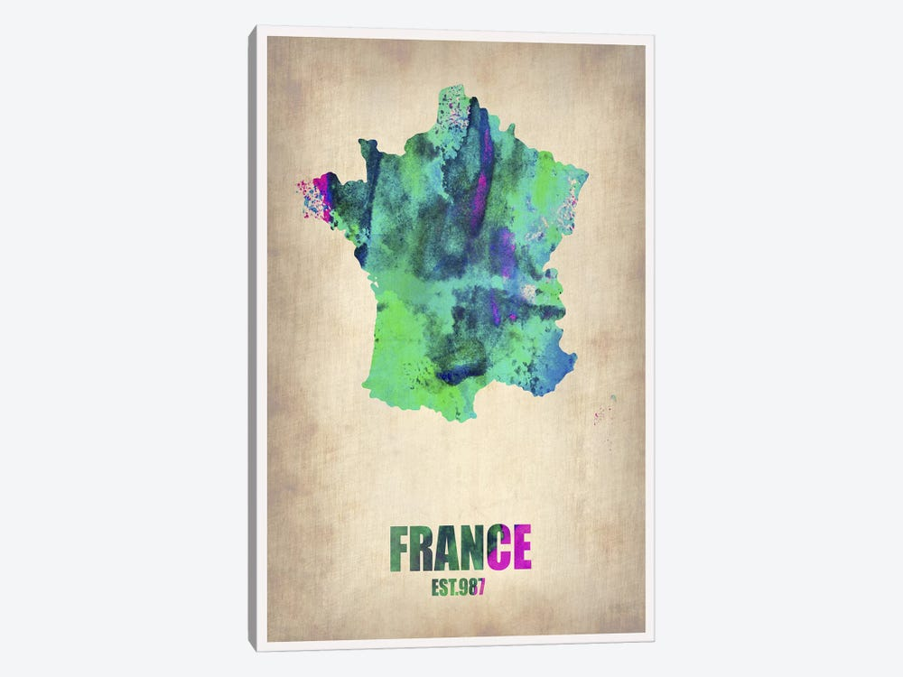 France Watercolor Map by Naxart 1-piece Canvas Art Print