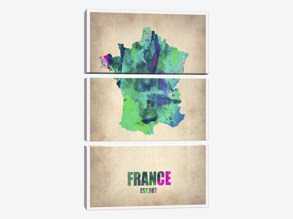 France Watercolor Map by Naxart 3-piece Canvas Print