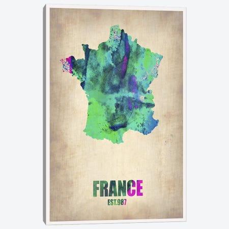 France Watercolor Map Canvas Print #NAX316} by Naxart Canvas Artwork