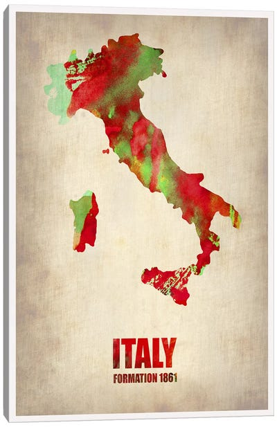 Italy Watercolor Map Canvas Art Print