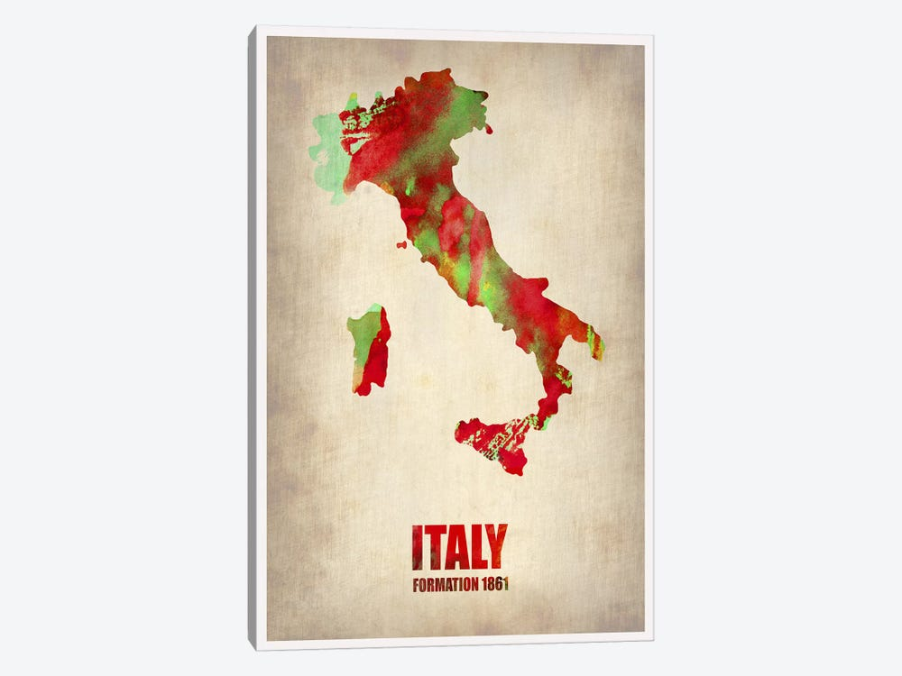 Italy Watercolor Map by Naxart 1-piece Canvas Art