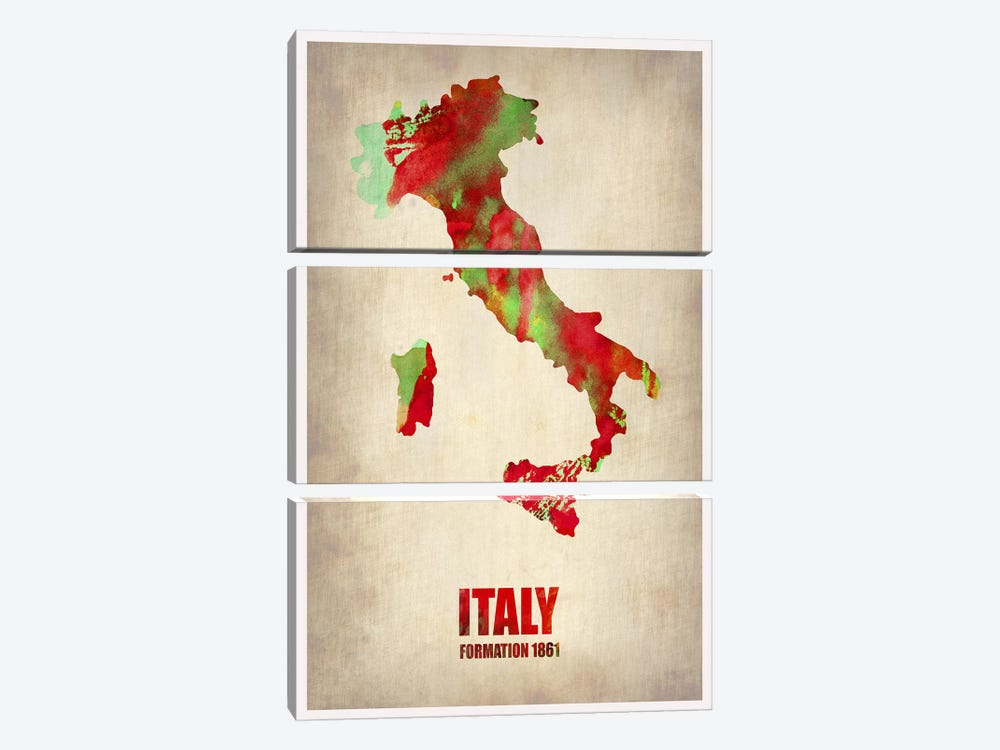 Italy Watercolor Map by Naxart 3-piece Canvas Artwork