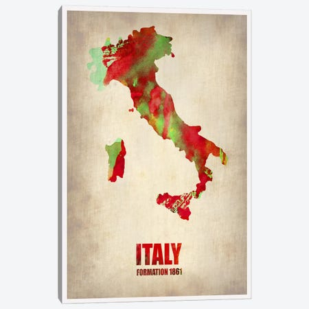 Italy Watercolor Map Canvas Print #NAX317} by Naxart Canvas Art