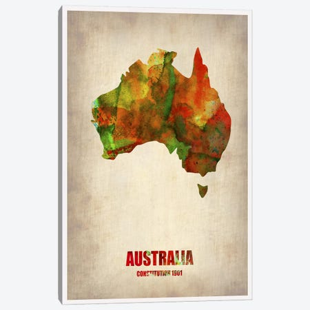 Australia Watercolor Map Canvas Print #NAX318} by Naxart Canvas Print