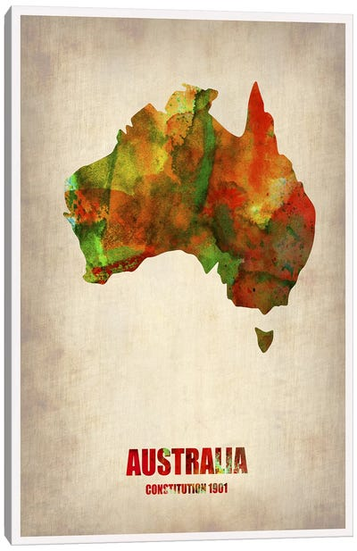 Australia Watercolor Map Canvas Art Print