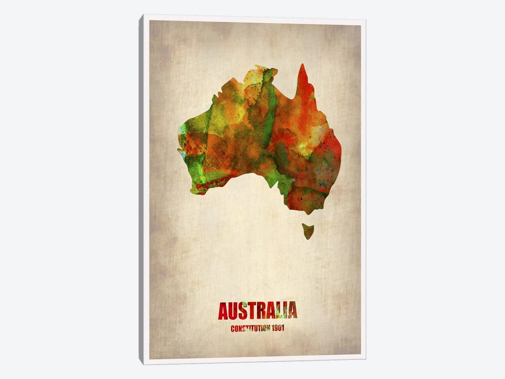 Australia Watercolor Map by Naxart 1-piece Canvas Art Print