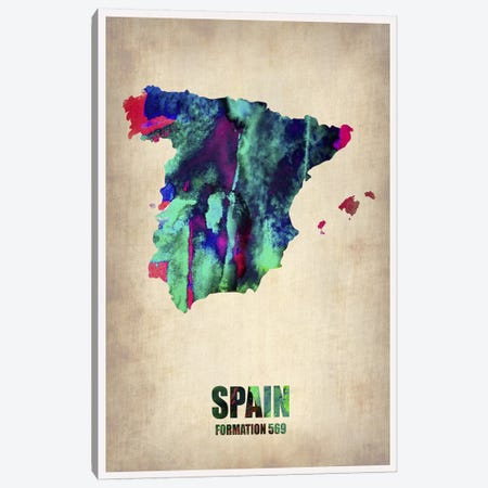 Spain Watercolor Map Canvas Print #NAX319} by Naxart Canvas Art Print